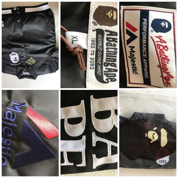 d39620b00eb4 Bape x Majestic Varsity Satin Jacket(PRICE DROP)